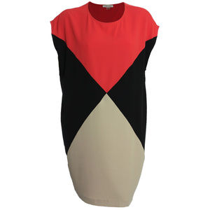 14w Multi Color Block Cap Sleeve Shift Dress